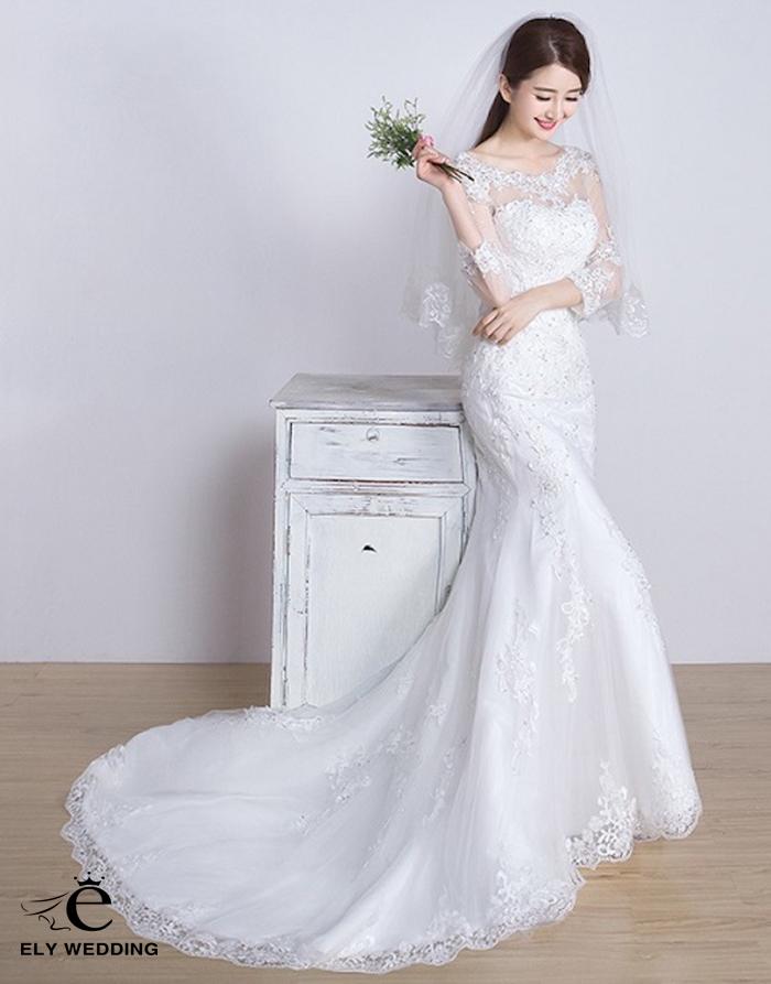 Xu hướng chọn váy cưới dài tay hợp mốt