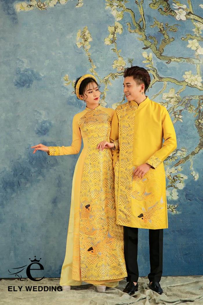 Top 10+ mẫu váy cưới, áo dài màu vàng đồng đầy tinh tế